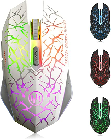TENMOS K6 Raton Inalambrico Gaming, LED Recargable Óptico Inalámbrico Ratón Ergonómicos Inalámbricos Portatil con Receptor USB, 3 dpi Ajustables Y 6 ...