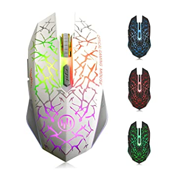 TENMOS K6 Raton Inalambrico Gaming, LED Recargable Óptico Inalámbrico Ratón Ergonómicos Inalámbricos Portatil con Receptor