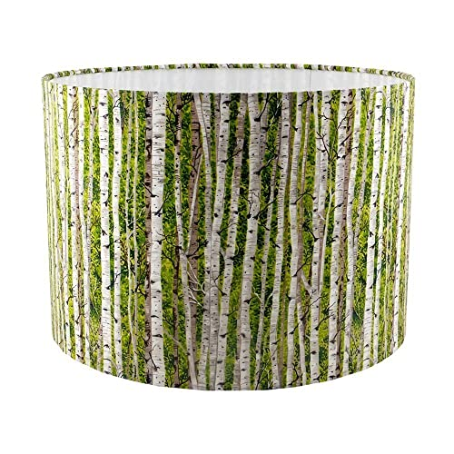 Silver birch handmade fabric drum lampshade green amazon silver birch handmade fabric drum lampshade green mozeypictures Gallery