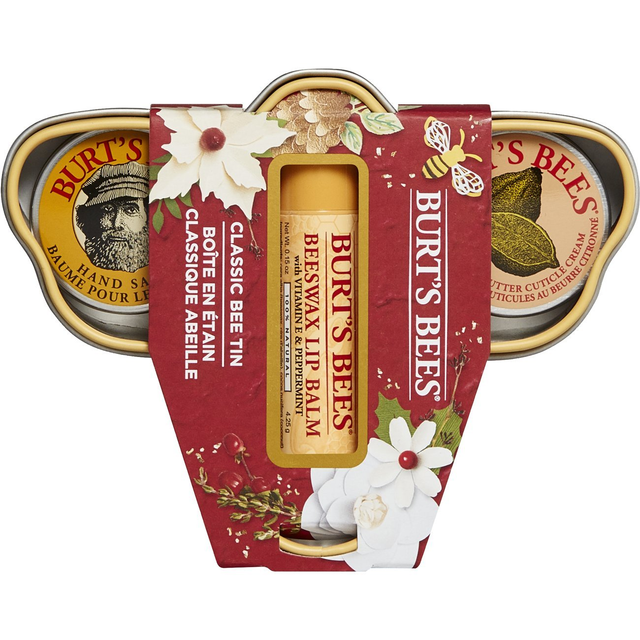 Burt's Bees Classic Bee Tin Holiday Gift Set, 3 Lip & Hand Products in Gift Box - Cuticle Cream, Hand Salve and Lip Balm