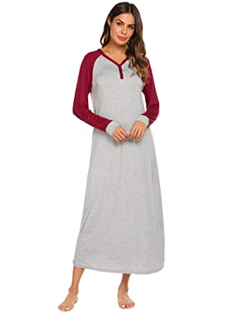 Ekouaer Sleepwear Womens Long Sleeve Sleepshirt V Neck Night Dress Nightgown  Loungewear(Wine Red ecb32e0f7