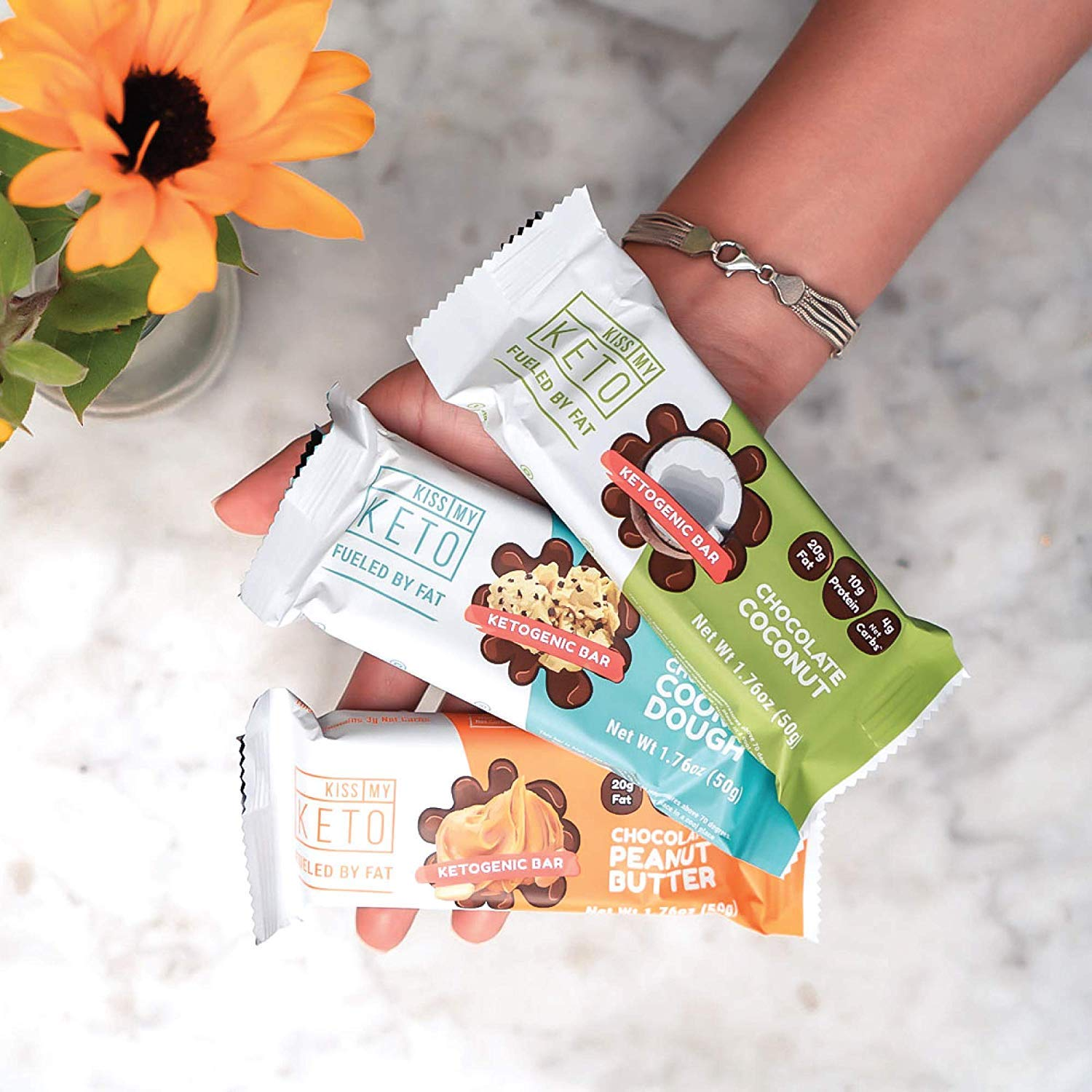 Kiss My Keto Snacks Keto Bars - Keto Chocolate Coconut, Nutritional Keto Food Bars, Paleo, Low Carb/Glycemic Keto Friendly Foods, All Natural On-The-Go Snacks, Quality Fat Bars, 4g Net Carbs by Kiss My Keto