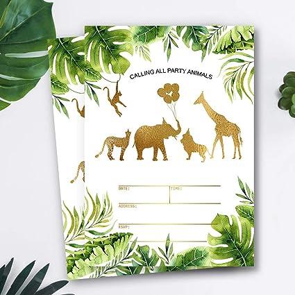 Mocsicka Safari Jungle Birthday Invitations Jungle Gold Aniamls Baby Shower Birthday Party Invite 20 Fill In Invitations And Envelopes