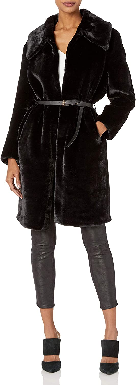 Elliatt Women's Apparel womens Mariposa Faux Fur Long Collared Over Coat