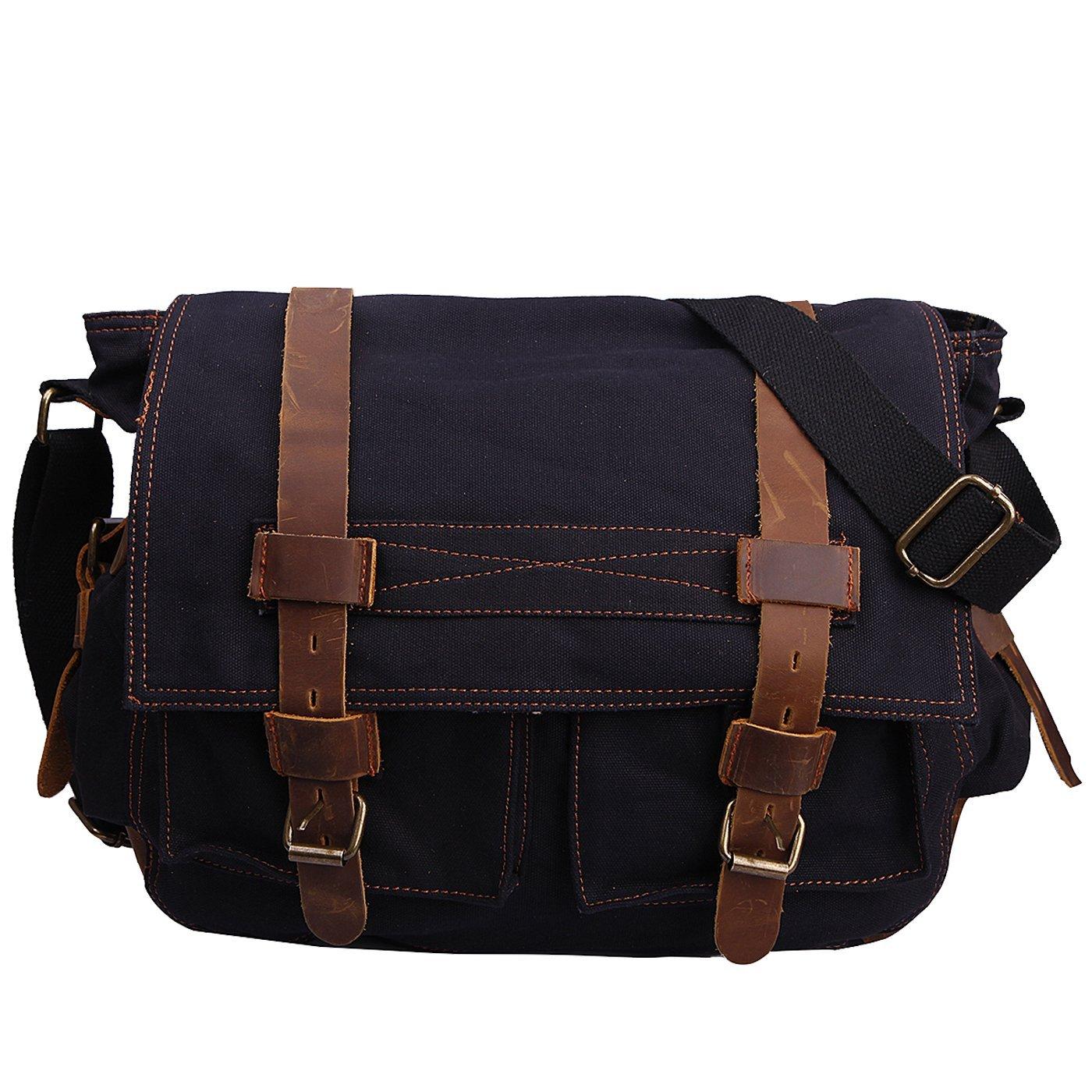 HDE Vintage Canvas Messenger Bag Leather Military Tactical Style Travel Shoulder Field Bag fits 15 Inch Laptop