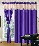 Super India Plain 3 Piece Polyester Long Door Curtain Set - 9ft, Blue