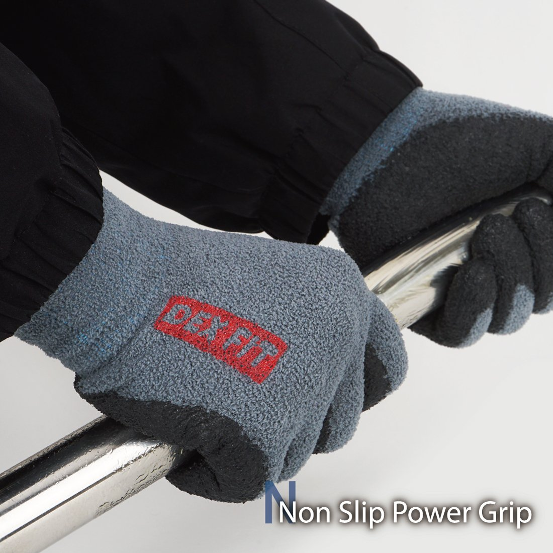 DEX FIT Warm Fleece Work Gloves NR450, Comfort Spandex Stretch Fit, Power Grip, Thin & Lightweight, Durable Nitrile Coated, Machine Washable, Grey Medium 3 Pairs Pack by DEX FIT (Image #3)