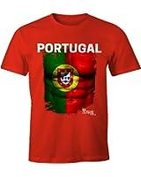 EM T-Shirt Herren Fußball Portugal Flagge Fanshirt Waschbrettbauch Fan Shirt MoonWorks®