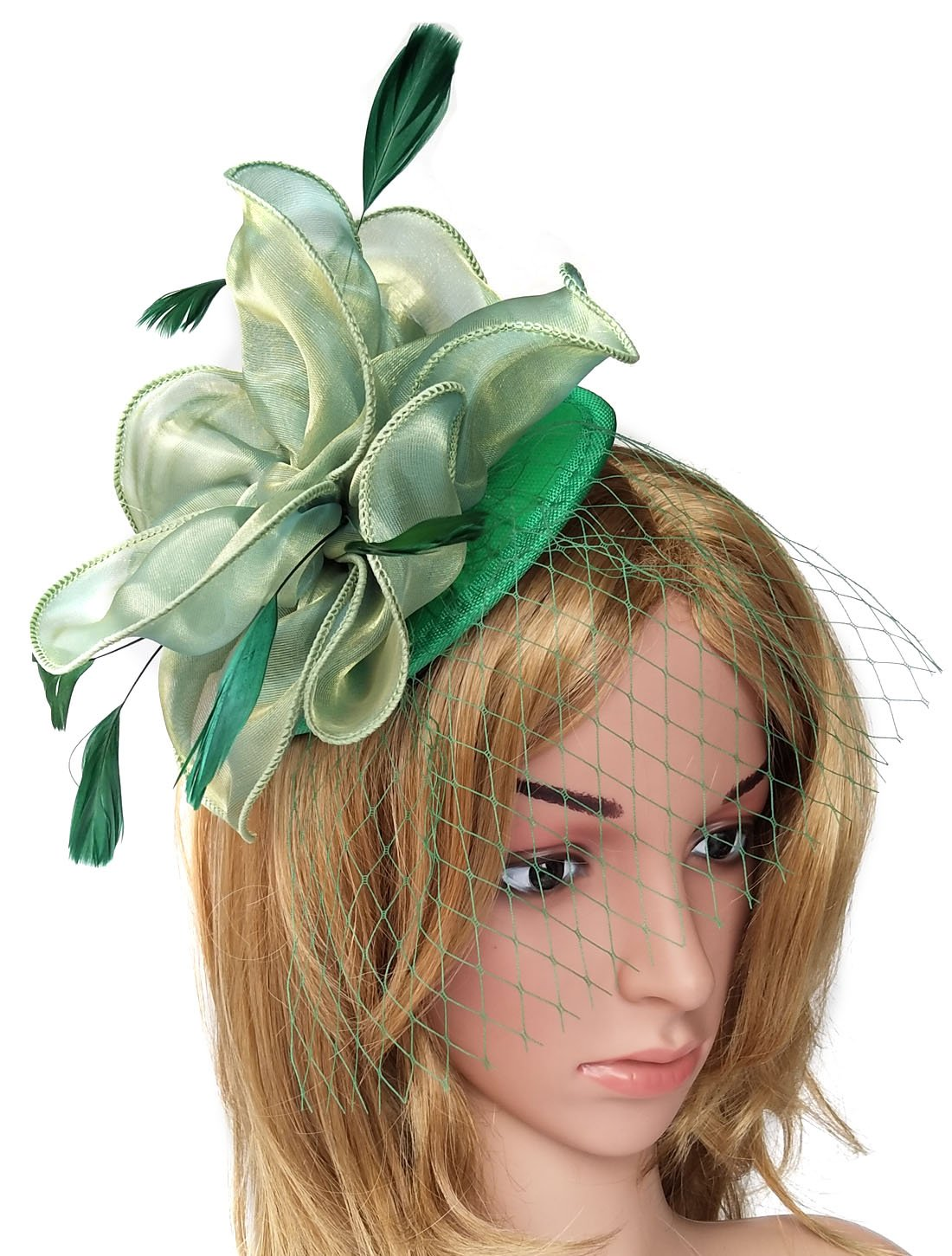 Biruil Fascinator Feather Organza Flower Cocktail Tea Party Hair Clip Derby Headband (Style 1 Green)