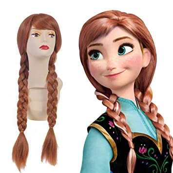 SARLA Suitable For Frozen Anna Princess Cosplay Wig Snow Queen For Child  Synthetic Movie Long