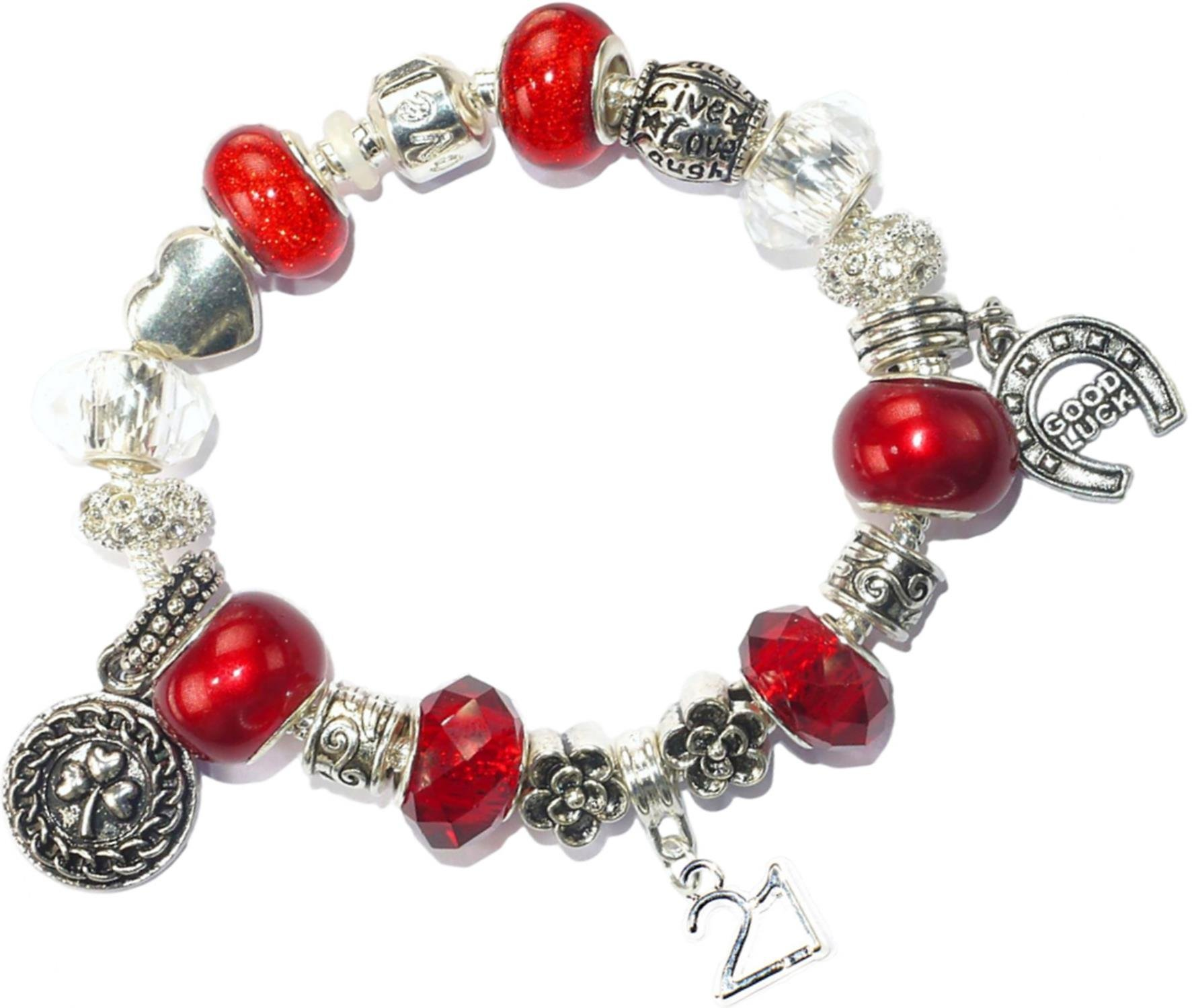 Charm Buddy 21St Birthday Good Luck Lucky Red Silver Pandora Style Bracelet With Charms Gift Box Jewelry