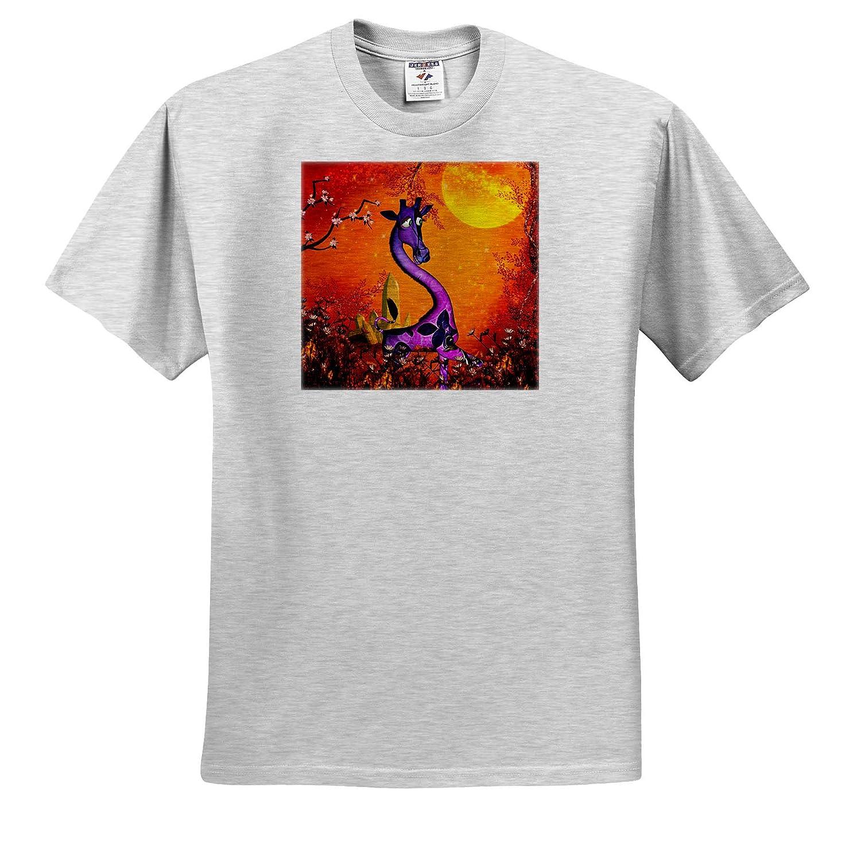 3dRose Heike K/öhnen Design Animal ts/_310257 Adult T-Shirt XL Cute Giraffe in The Sunset