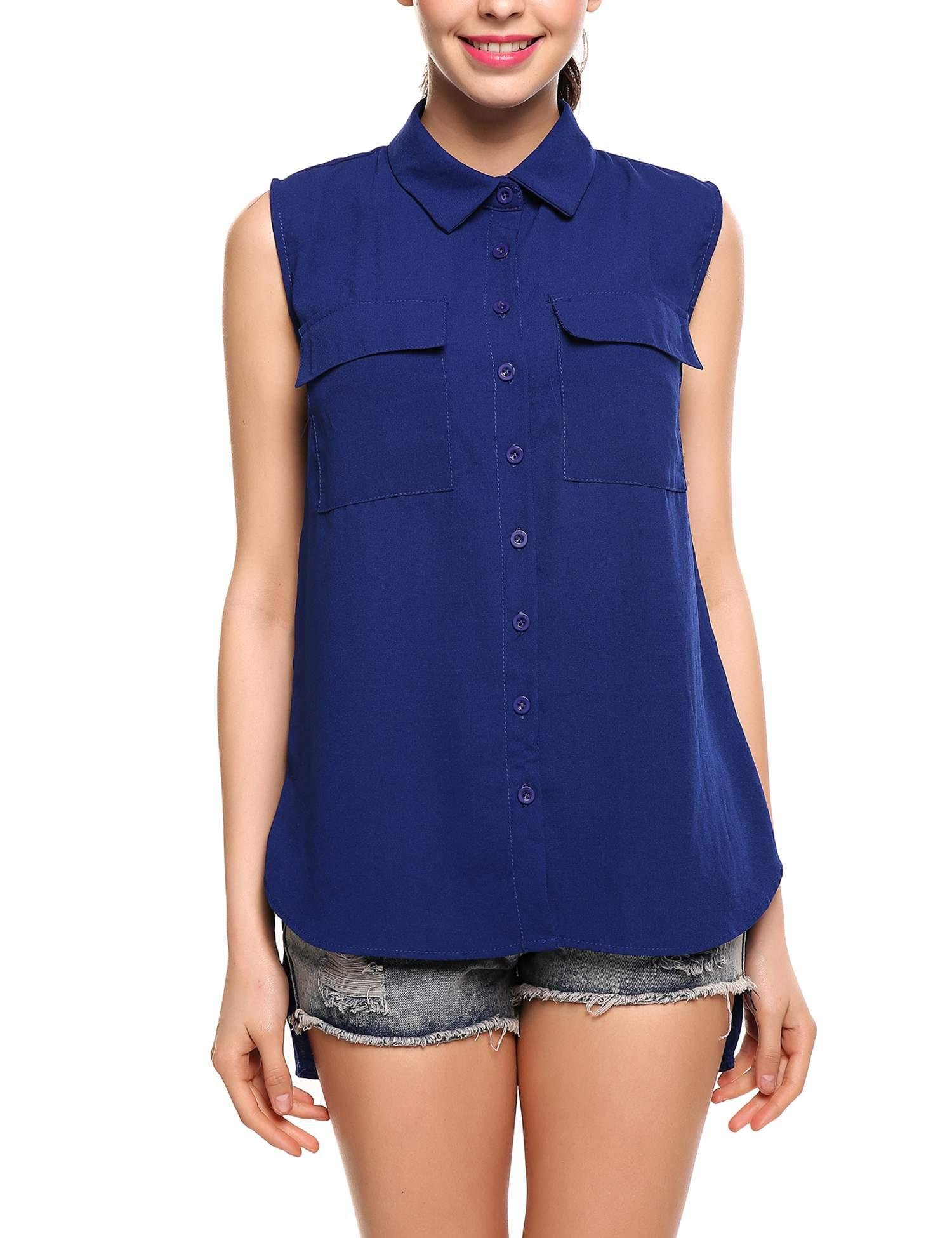 Jingjing1 Women's Summer V Neck Sleeveless Blouse Loose Pleated Chiffon Tank Tops (Large, Style 2- Blue)