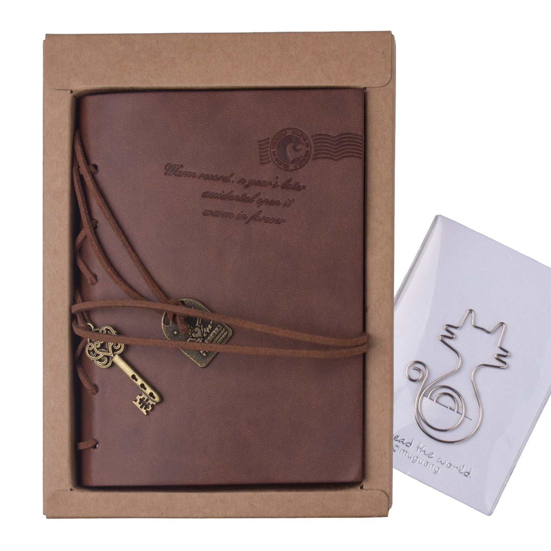 Cuaderno de Cuero - Meersee Cuaderno de Notas Vintage Cuadernos Bonitos de Viaje con n Regalo Gratis: Amazon.es: Oficina y papelería