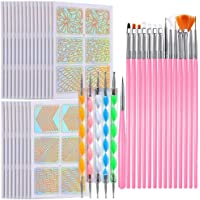 EBANKU Nail Design Brush Set with Pink Handle Professional Nail Point Drill Tool Brush 20st Nail Art Design Pen Nail…