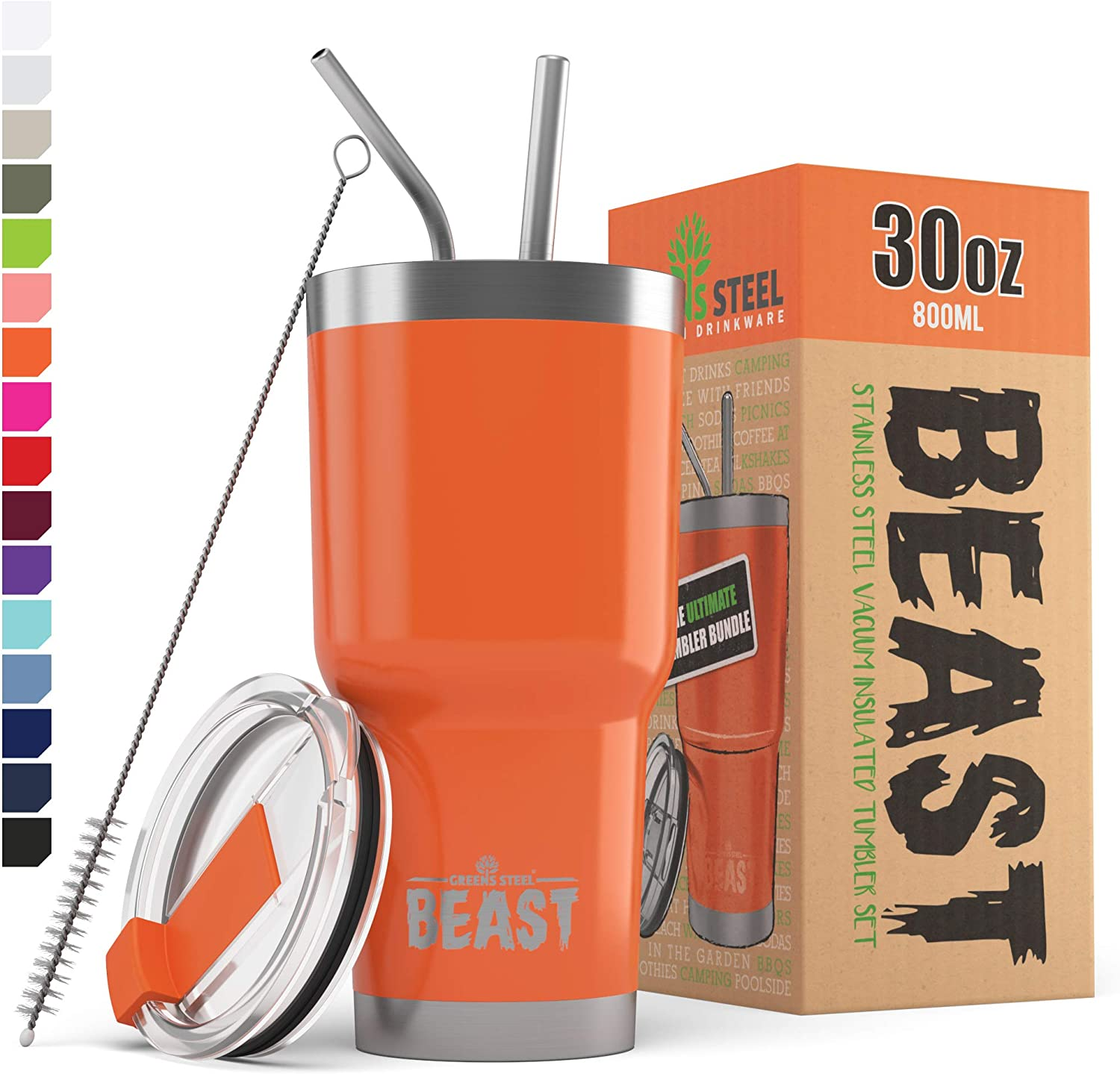 BEAST 30 oz Orange Tumbler - Stainless Steel Vacuum Insulated Coffee Ice Cup Double Wall Travel Flask