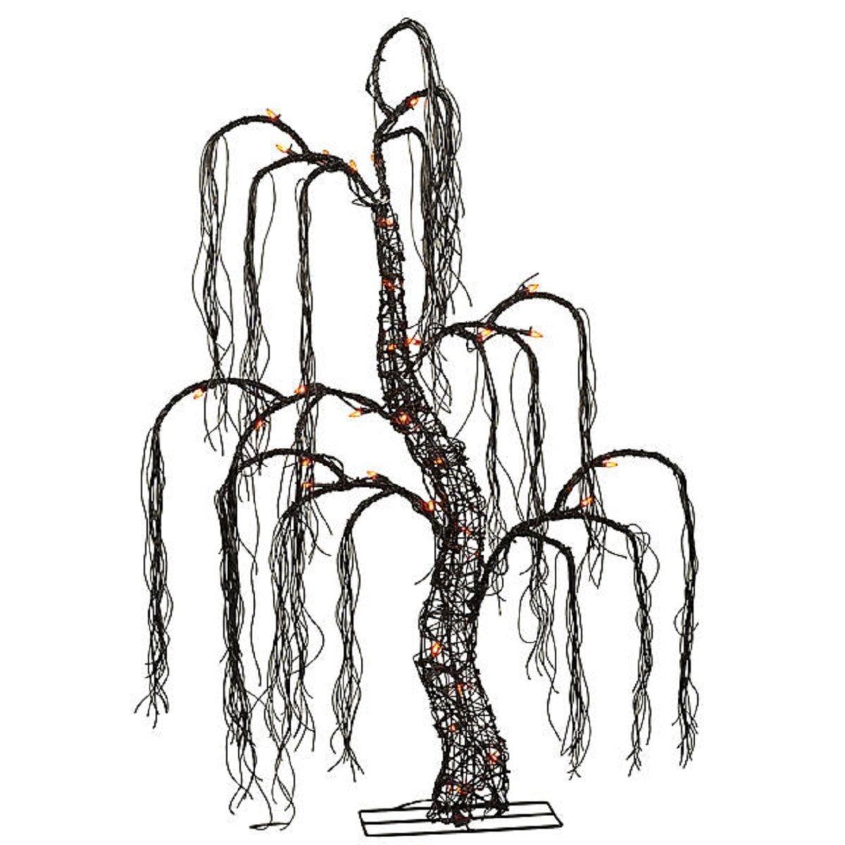 HALLOWEEN 48'' BLACK SPOOKY TREE LIGHTED YARD PROP DECORATION