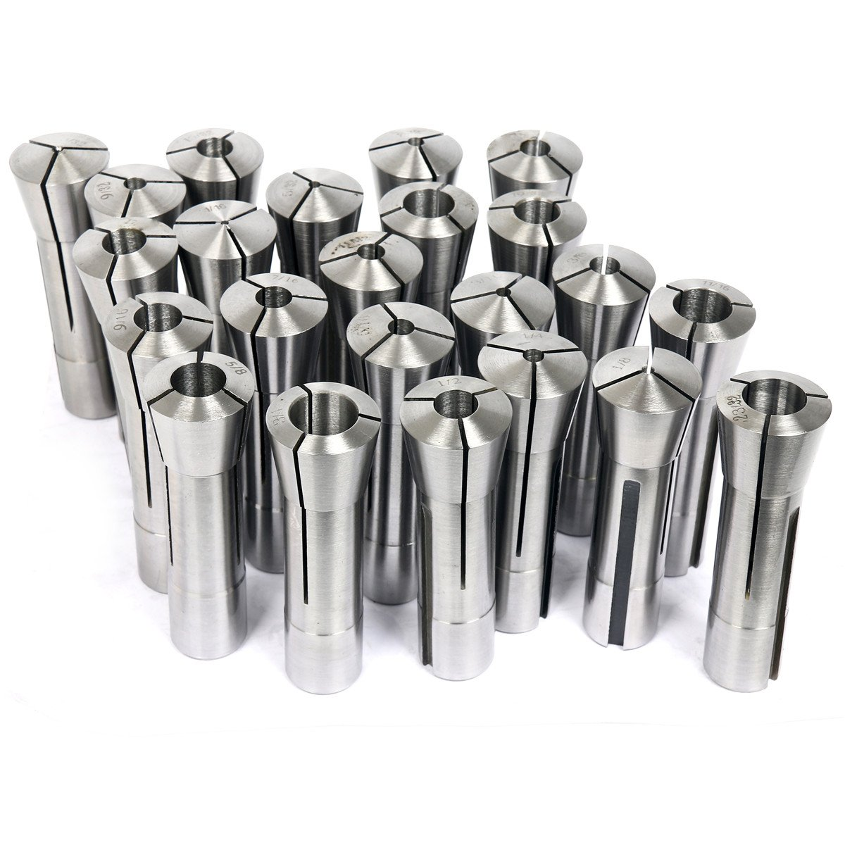 Set Of 23 Pcs High Grade And Precision Ground R8 Collet Size 1//16 to 3//4 inch
