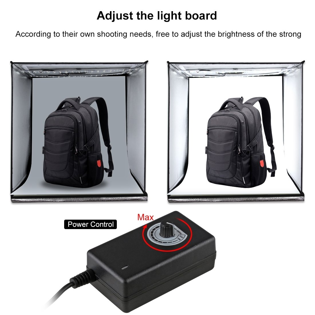 Light Box Photo Studio Super Bright Photography 24'' Portable Shooting Light Tent with 3 Colors Photography Backdrops Waterproof Background Screen & Carrying Bag (24'') by PULUZ (Image #3)