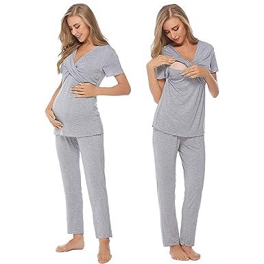 aa3fefd2b0c Hawiton Femme Robe Patineuse maternité d allaitement Robes Été Vêtements  Grossesse et maternité Portefeuille Soirée