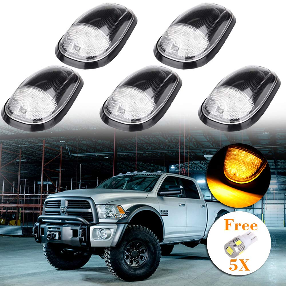 Replacement Roof Top Running Light Cab Marker Light Clearance Light Covers with Base Housing For 1999-2002 Dodge Ram 2500 3500