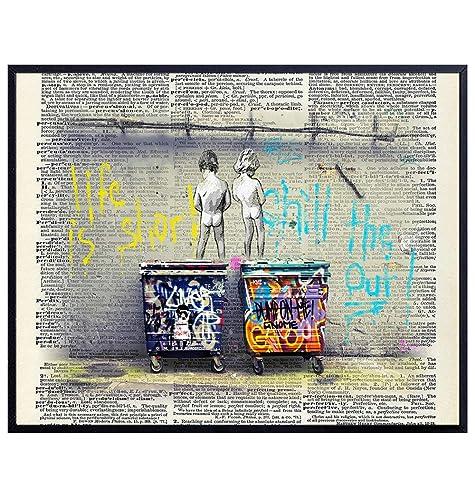 Amazon Com Original Banksy Graffiti Life Is Short Dictionary Wall Art Print Cool Unique Gift Or Home Decor For Boys Bathroom Kids Bath Living Room Bedroom 8x10 Poster Unframed Photo Handmade
