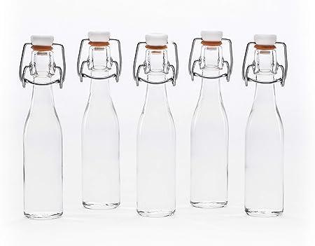 4 4 pezzi Casa-vetro 2 6 o 10 bottiglie da 1 litro con chiusura a leva 1000 ml bottiglie di vetro vuote con chiusura a leva