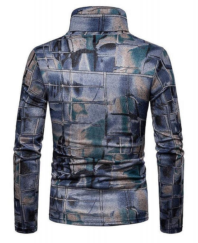 SHOWNO Mens Slim Fit Fleece Turtle Neck Long Sleeve Print Thermal T-Shirt Tee Top