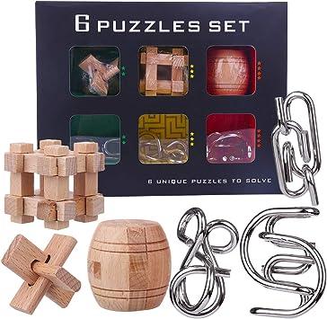 BOROK Rompecabezas Madera Metal, 6 Pack 3D Puzzles Adultos Juegos de Ingenio Juegos de Mesa Juego IQ Juguete Educativos Habilidad Juego Logica Calendario de Adviento Niños: Amazon.es: Juguetes y juegos