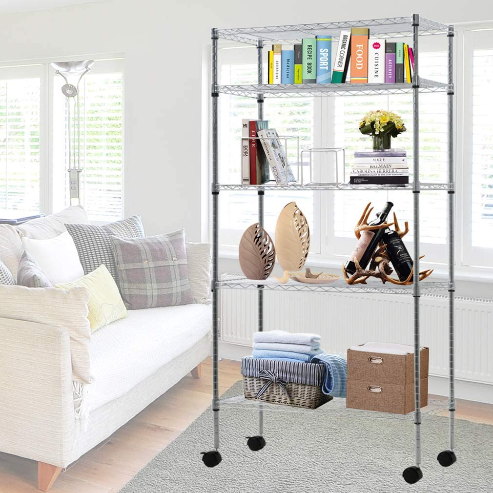 """Metal Storage Shelves 5 Tier Wire Shelving Unit with Wheels, NSF Wire Shelf Utility Commercial Grade Heavy Duty Height Layer Rack for Pantry Closet Kitchen Laundry Organization ,14""""Wx30""""Dx60""""H,Chrome"""