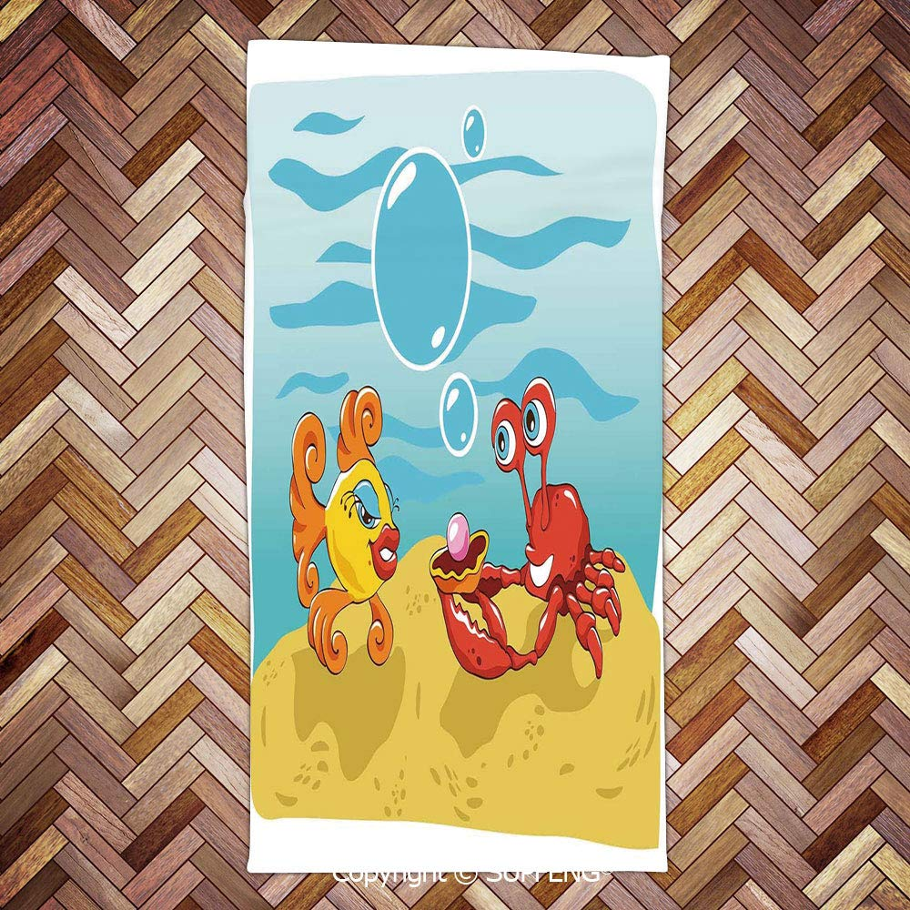 Sweat Towel Under The Sea Cartoon Fish and Crab with Sand Pearl/3d Printing/Water Absorption/Multipurpose