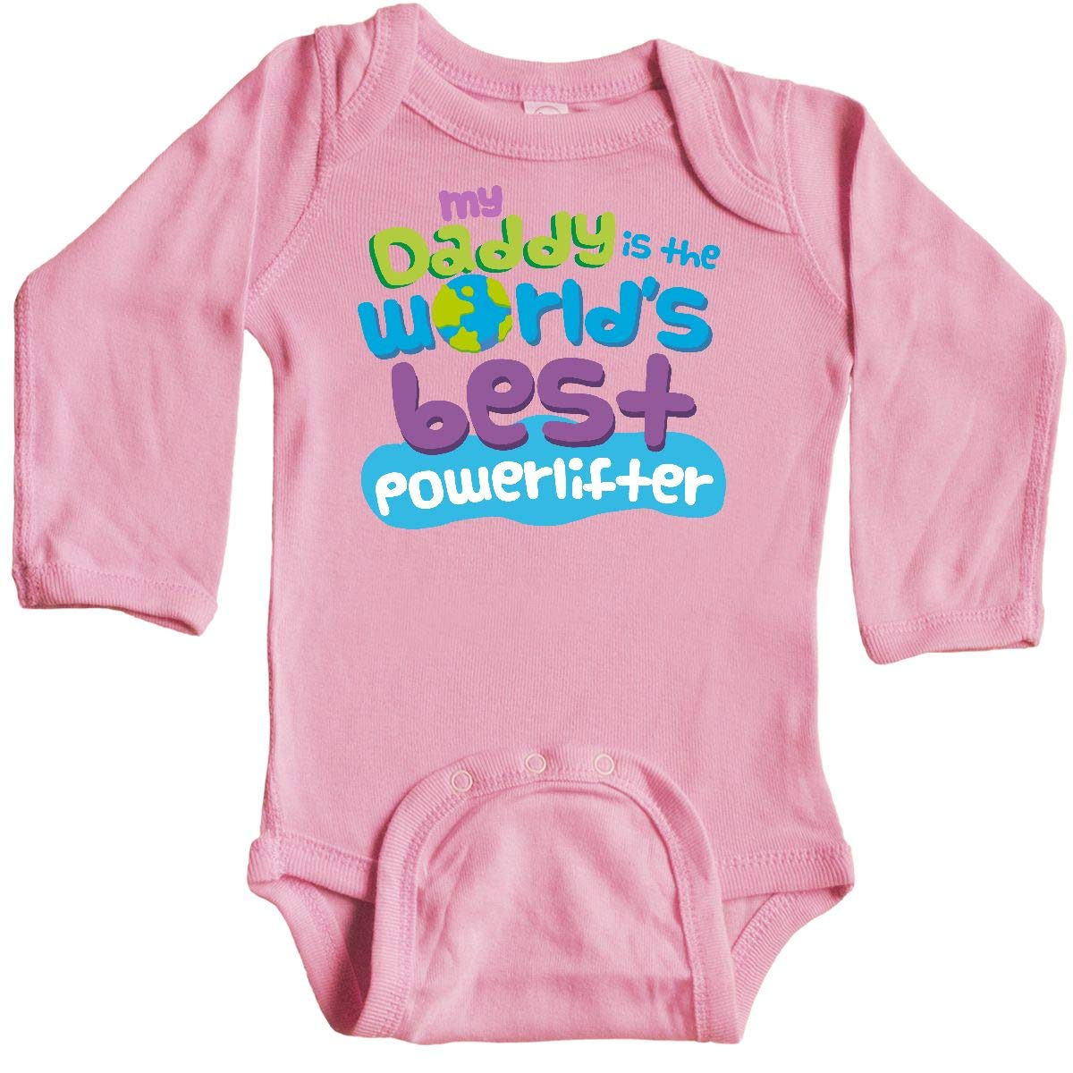 inktastic My Daddy is The Worlds Best Powerlifter Long Sleeve Creeper