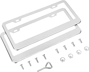 AmazonBasics Stainless Steel License Plate Frame Pair with Screw Caps - 2-Hole, 12.2'' x 6.3'', Silver