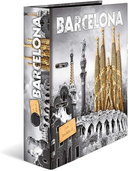 HERMA 7177 cartón diseño carpeta DIN A4, Serie Ciudades, diseño España Barcelona, 70 mm de ancho, 1 pieza, con interior de impresión: Amazon.es: Oficina y papelería