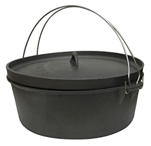 Stansport Non-Seasoned Cast Iron Dutch Oven, Flat Bottom