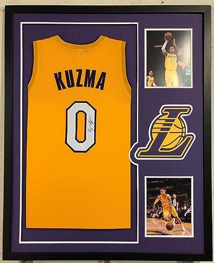 ded68ba25cf Kyle Kuzma Autographed Signed Custom Framed La Lakers Yellow Jersey 1 JSA  Witnessed Coa - Size