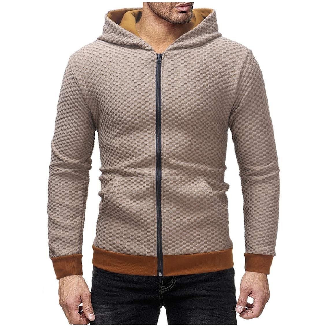 Freely Mens Outwear Full-Zip Long Sleeve Plaid Hooded Cardigan Sweatshirts