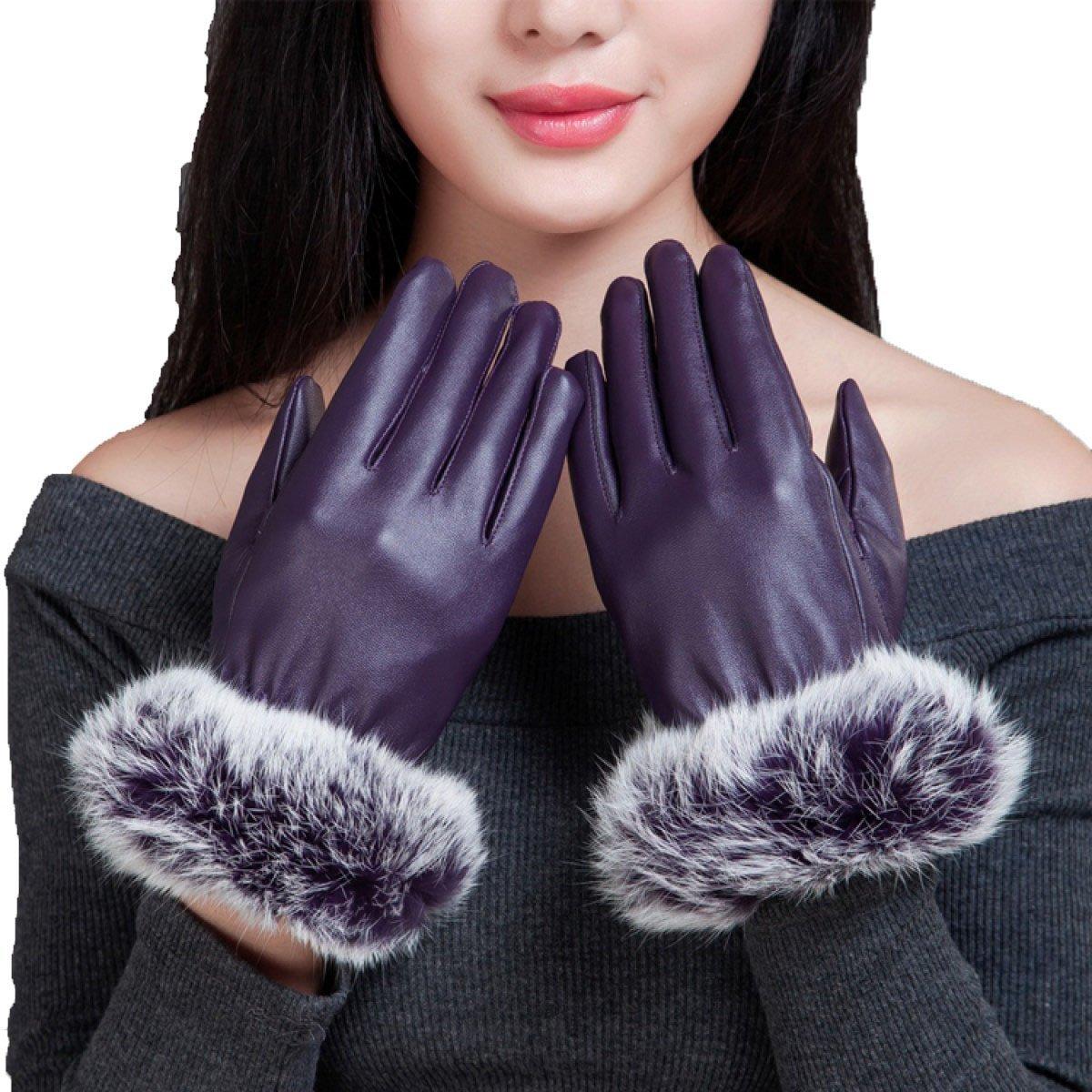 GBT Gants en Cuir épais de Femmes d'hiver Écran Tactile Réchauffement Chaud de Brise-Vent