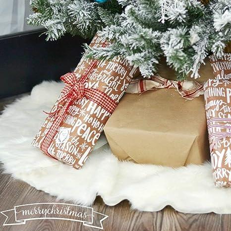 Albero Di Natale Bianco 90 Cm.Amade Gonne Per Albero Di Natale Tappeto Albero Di Natale Bianco Peloso Pelliccia Sintetica Per Natale Capodanno Festa Decorazione Domestica 90cm