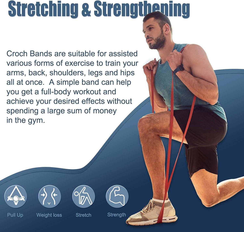 Croch Loop bandes Set Completo coresteady Band Elastiche Fitness in Lattice Naturale Fascia di Resistenza Come Resistenza e Supporto per ausilio al Pull-up con Istruzioni per Esercizi
