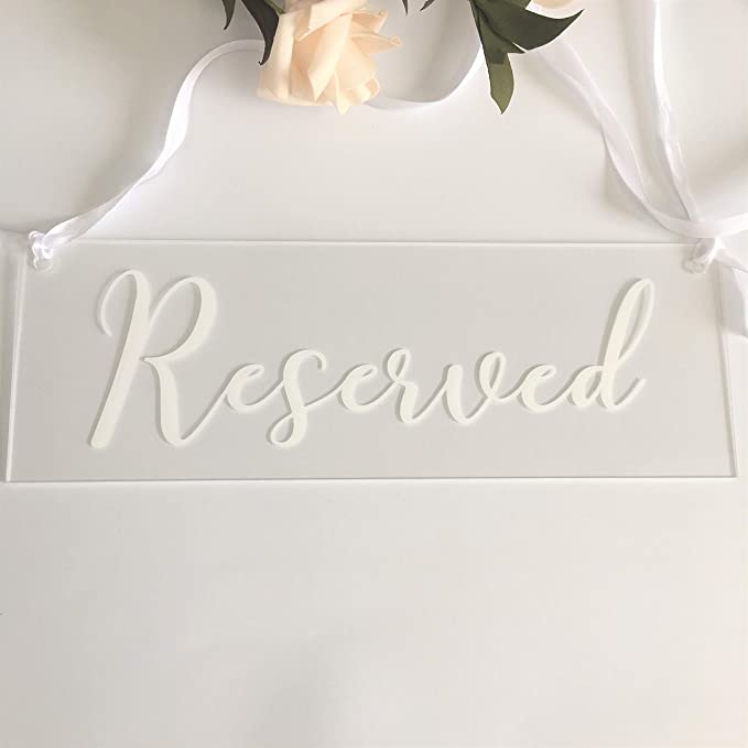 Set of 2 Acrylic Mirror Reserved Table Sign Acrylic Free Standing Reserved Wedding Signs Acrylic Freestanding Decoration