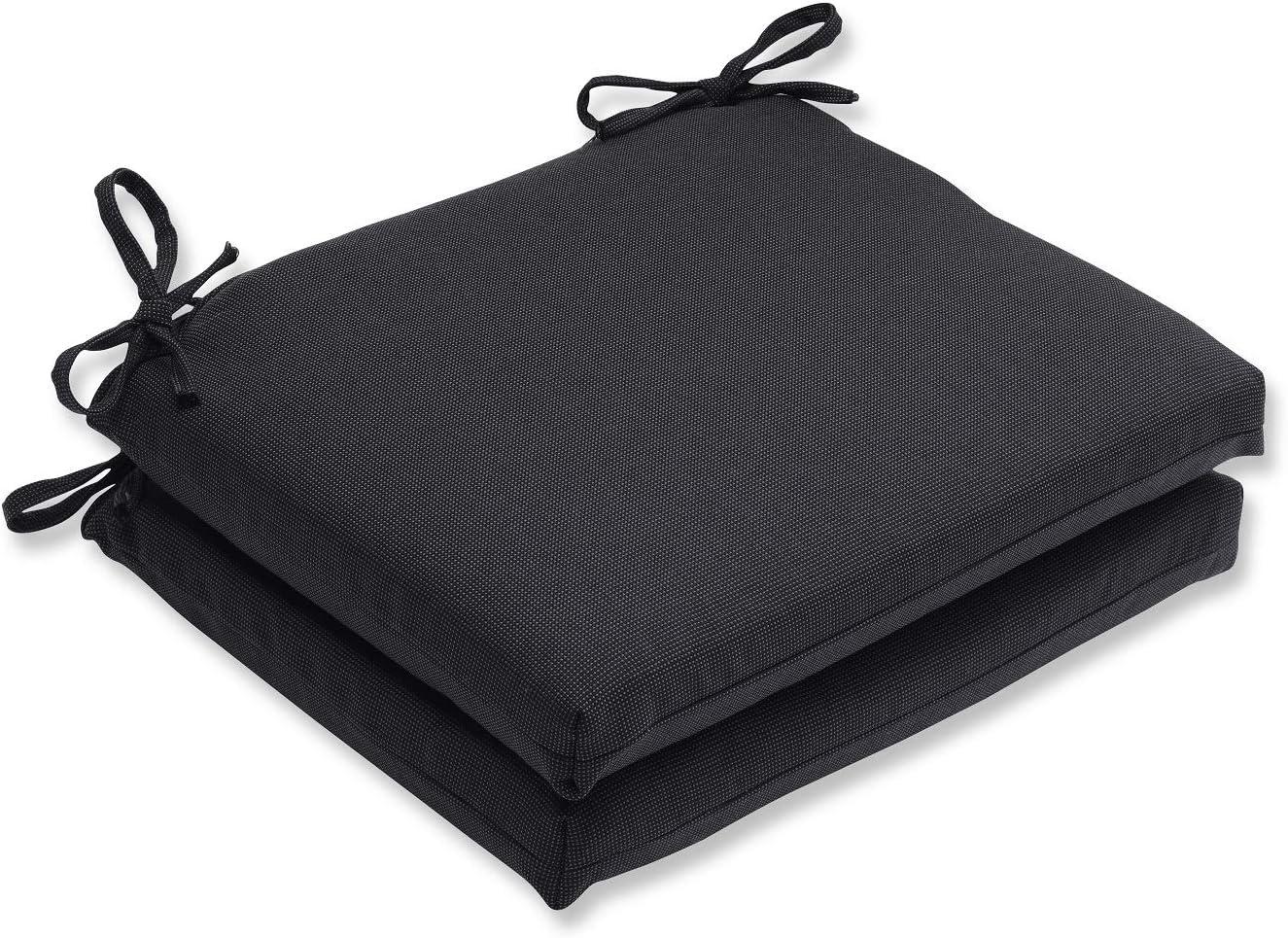Black 8 Pack Seat Chair Cushion Outdoor Garden Tie On Waterproof Pad Zip Cover