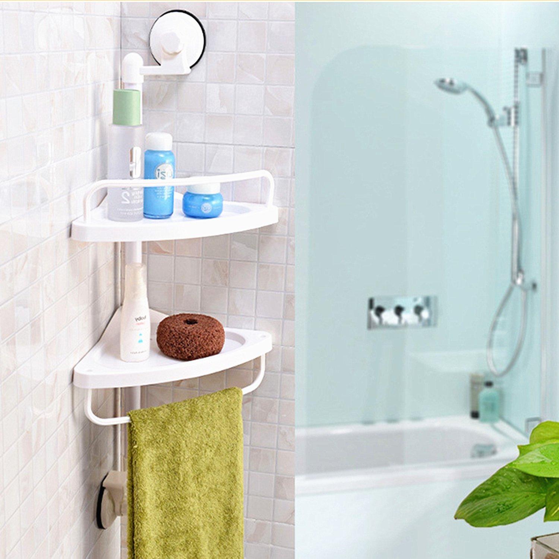 2 Layer White-Plastic Bathroom Caddy Corner Shower Organiser Towel ...