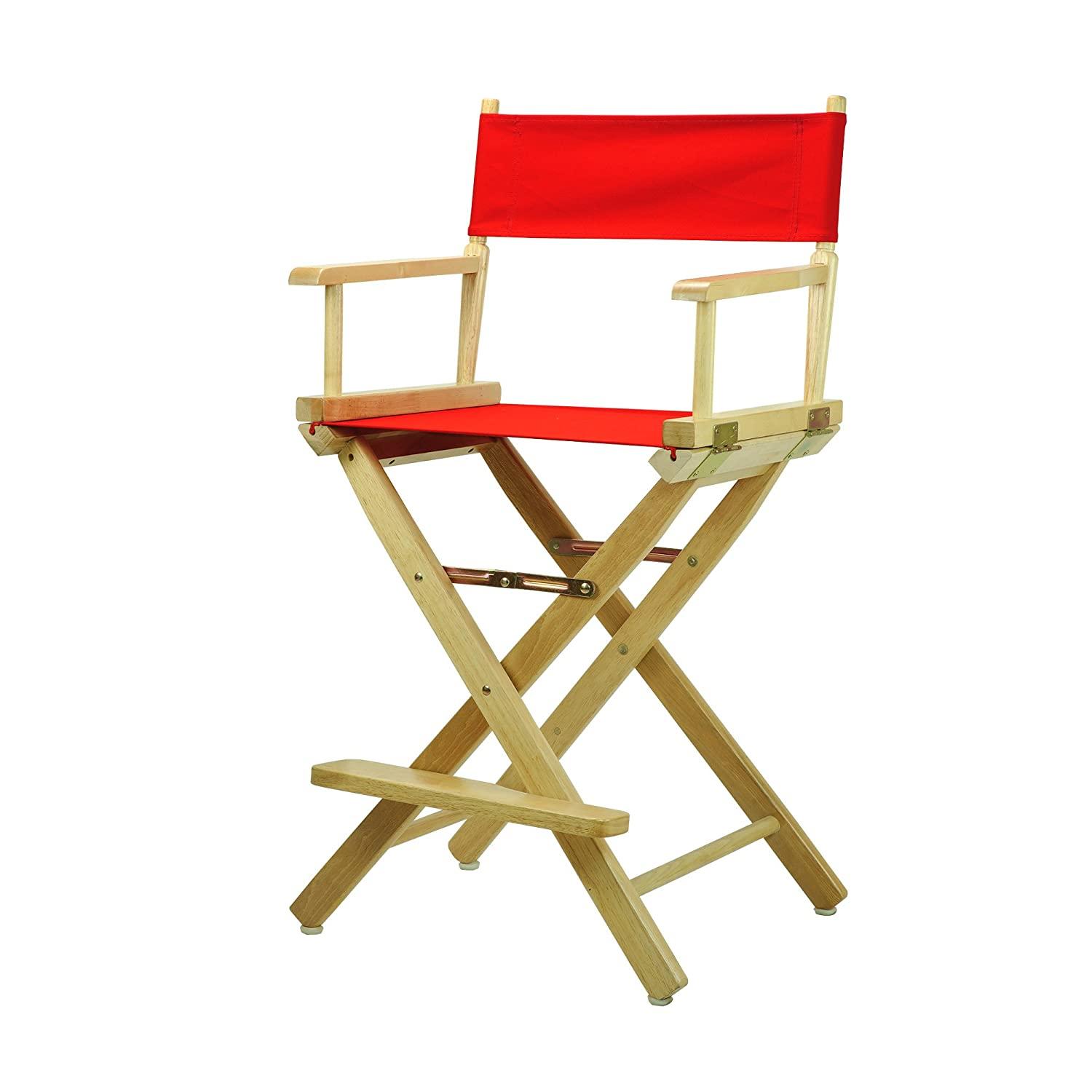 Red 24-Inch Casual Home 30-Inch Director Chair Natural Frame, Black Canvas
