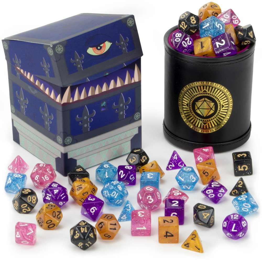Wiz Dice Cup of Wonder: 5 Sets of 7 Premium Glitter Polyhedral Role Playing Gaming Dice for Tabletop RPGs with Black Bicast Leather Dice Cup by by Wiz Dice