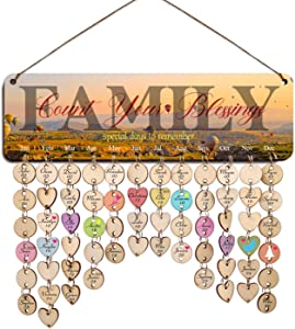 Zhuper Family Birthday Board Wall Hanging for Mom Grandma Family Birthday Calendar Reminder Count Your Blessings Plaque Sign Home Office Wall Decor DIY Birthday Present