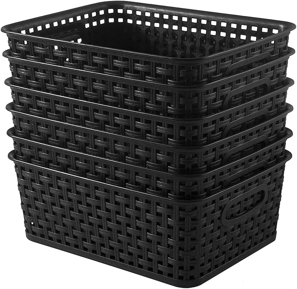 YXB Plastic Storage Basket - 6 Packs Weaving Plastic Baskets Bins Organizer with Handles Black Storage Trays Baskets for Home Kitchen Office