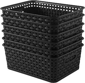 YXB Plastic Storage Basket - 6 Packs Weaving Plastic Baskets Bins Organizer with Handles Black Storage Trays Baskets for Home Kitchen Office
