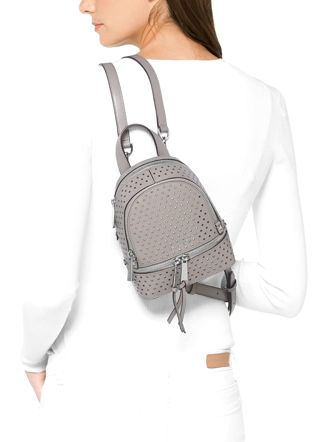 b37dbbfcce94 MICHAEL Michael Kors Rhea Mini Perforated Leather Backpack in Pearl Grey:  Amazon.co.uk: Shoes & Bags