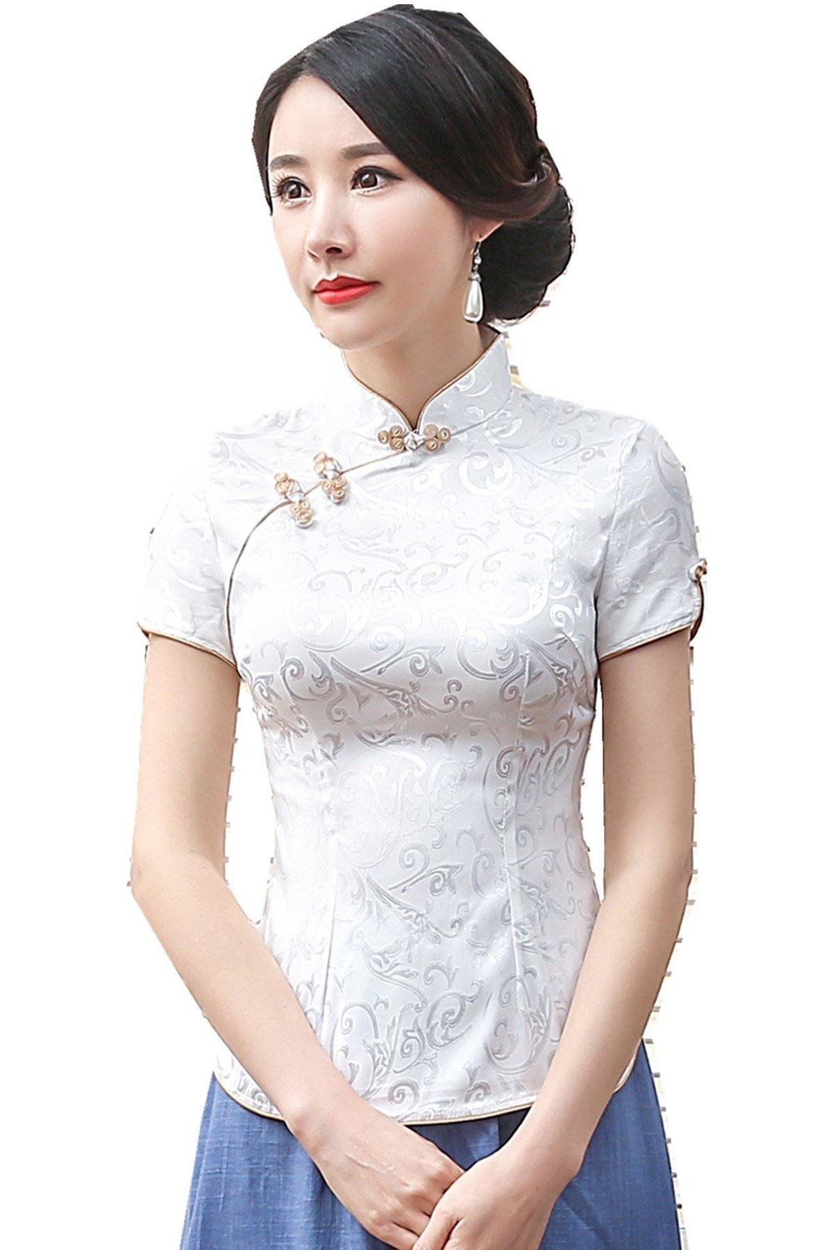 Shanghai Story Women Short Sleeve Chinese Blouse Cheongsam Top S White